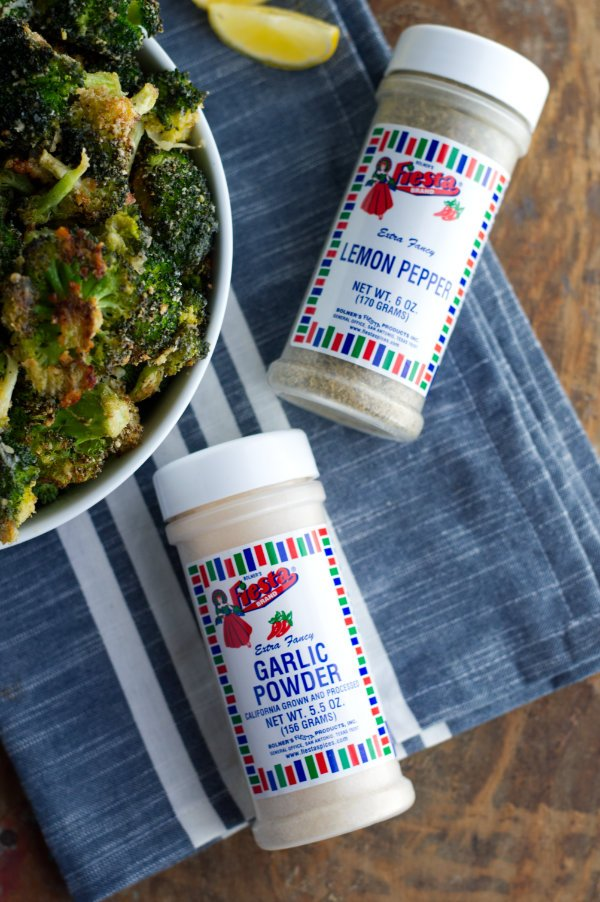 Bottles of seasoning for roasted broccoli