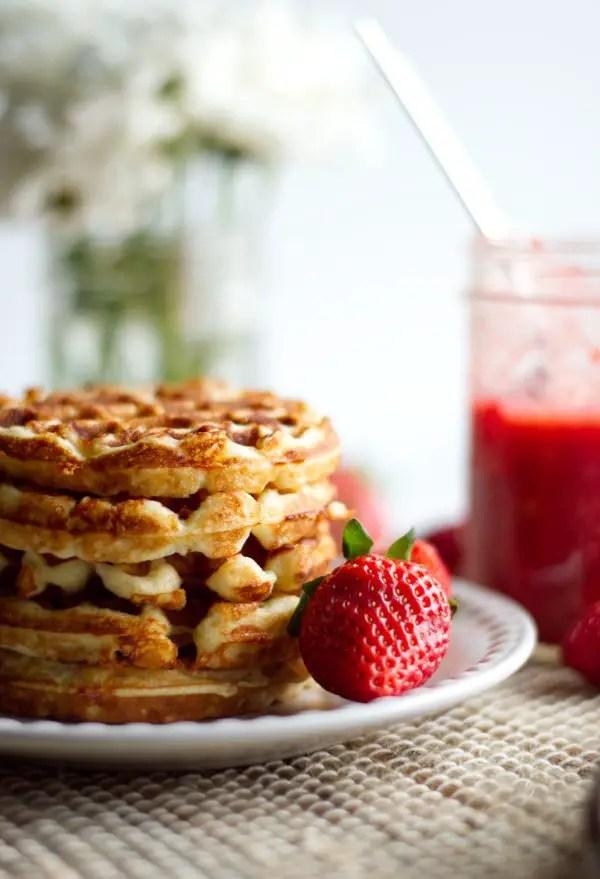 Stack of vanilla chaffles for strawberry shortcake