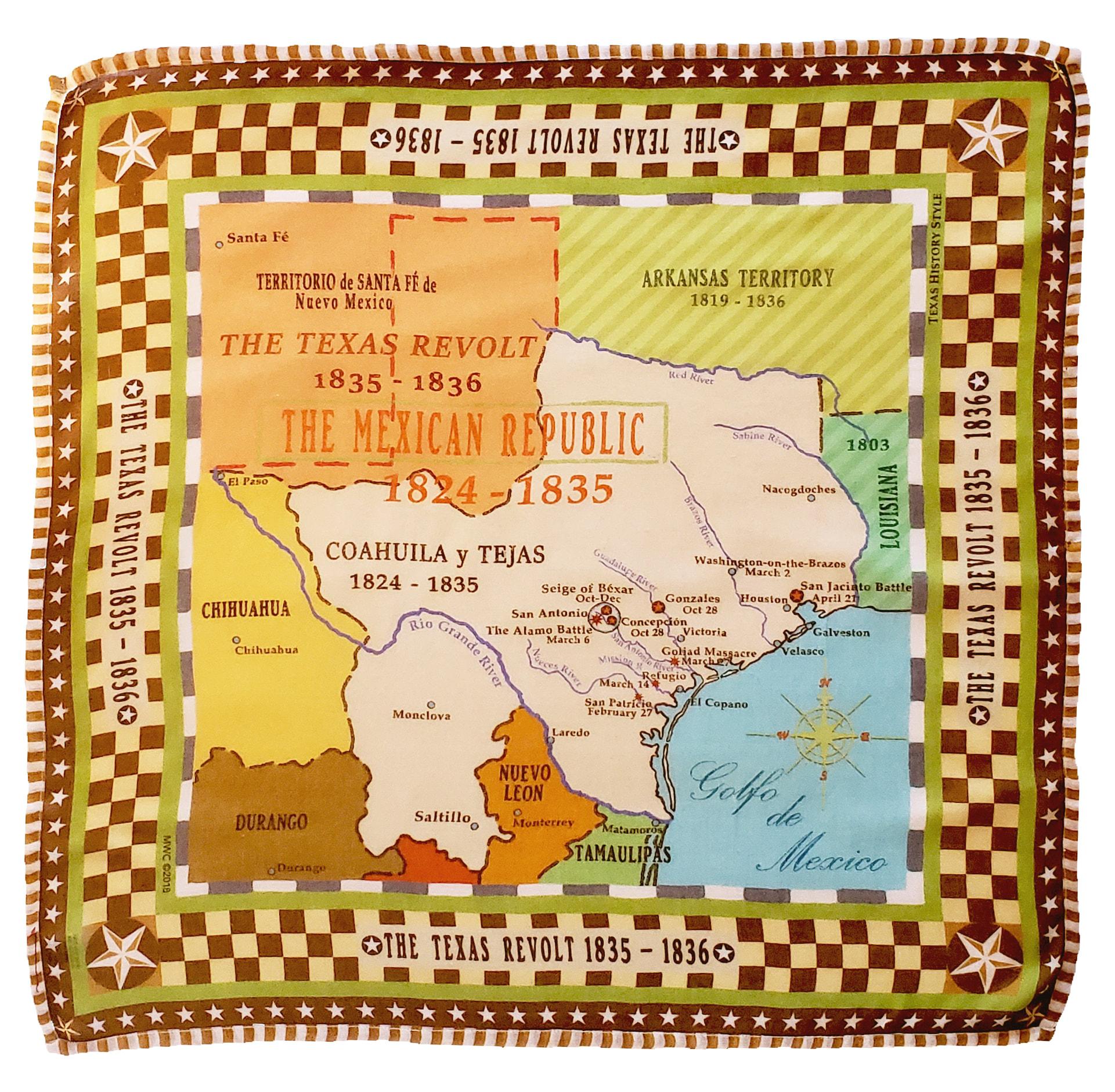 Texas Revolt Map Brown Check Bandana