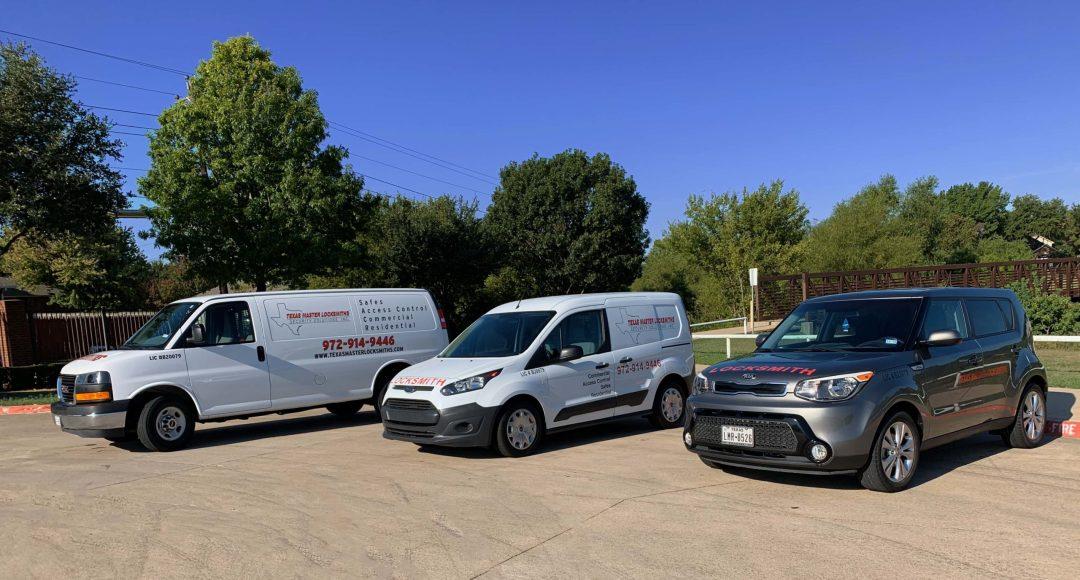 Texas Master Locksmiths van on job site