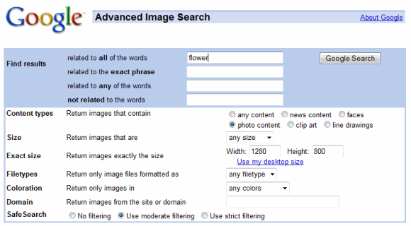 Advanced Image Search on Google