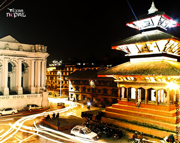 The city lights that thrive; Capturing the bustle of Kathmandu Durbar Square.