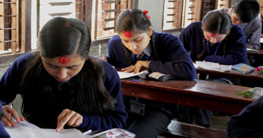 Students in Palpa attending the School Leaving Certificate (SLC) examination.(Photo Source: Republica)
