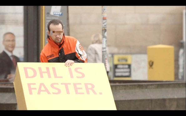 """DHL tricks competitors to deliver packages advertising message """"DHL IS FASTER""""!"""