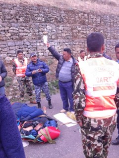 Army personnel providing treatment to a survivor of the deadly Mt. Everest avalanche on Saturday. Courtesy: NA
