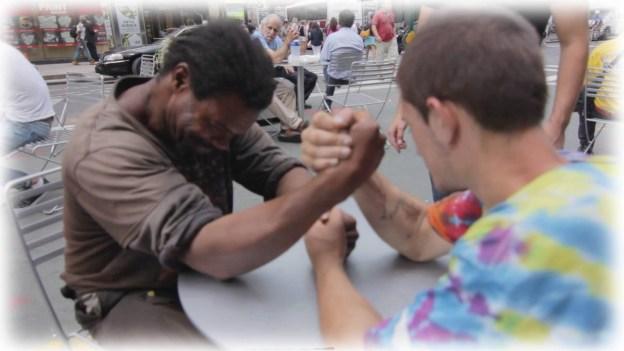 Making Homeless Guys Arm Wrestle For Money!