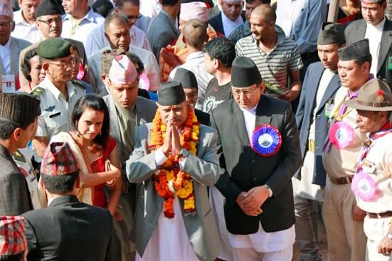 President Dr. Ram Baran Yadav at Krishna Mandir, Patan on occassion of Krishna Janmashtami on Sunday. Photo: Kumar Shrestha/RSS