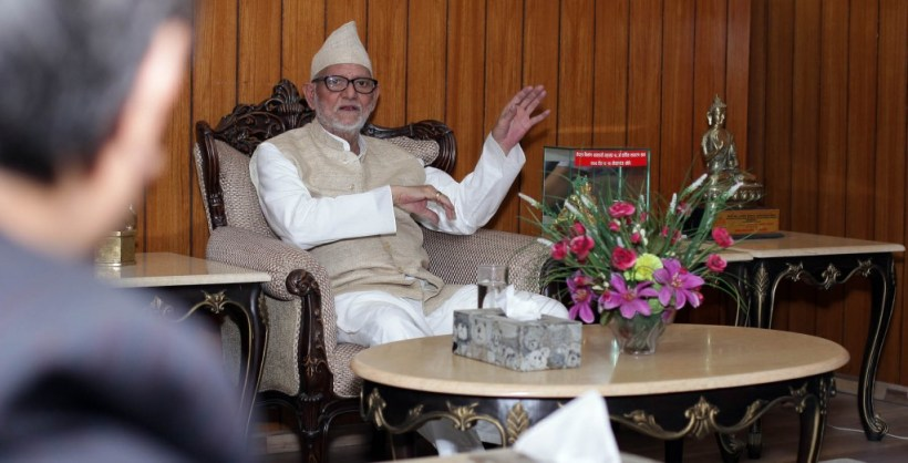 Prime Minister Sushil Koirala briefs after different organization submits relief fund for Prime Minister's Disaster Relief Fund on Monday at PM's Official Residence Baluwatar, Kathmandu. Photo: Kumar Shrestha, RSS