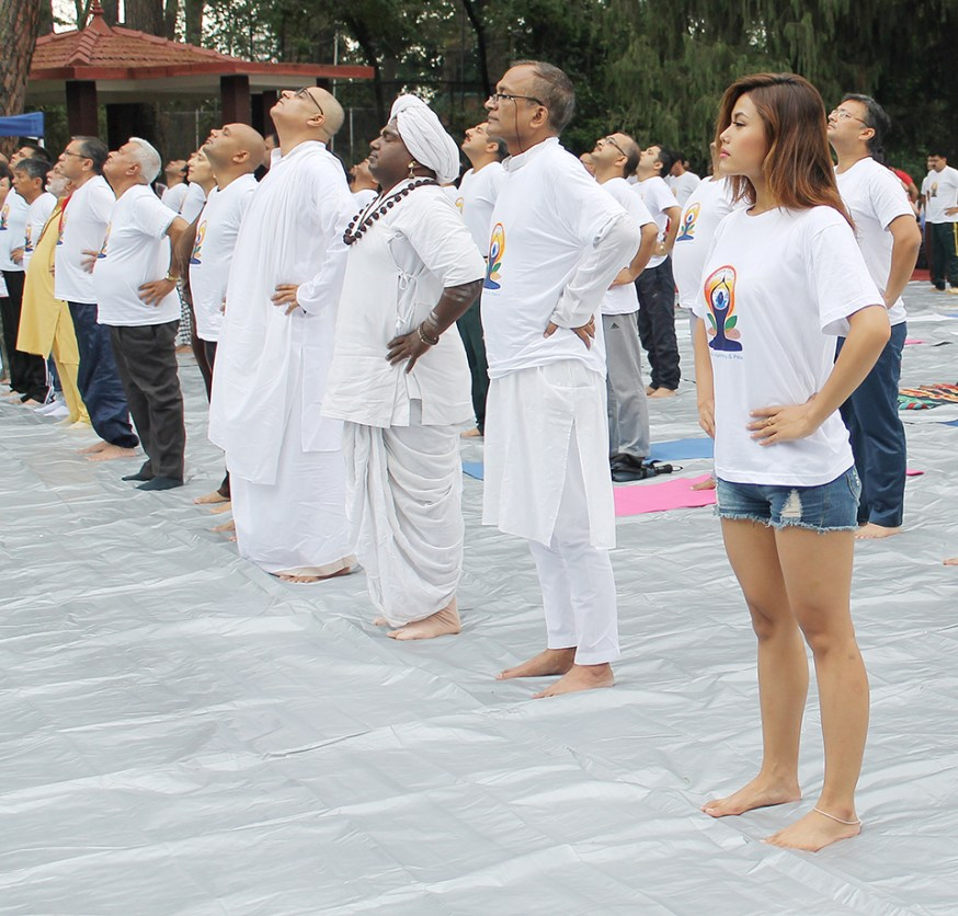 Actress Mala Limbu with people from various walk of life joins the International Day of Yoga 2015 on Sunday at the premises of India Embassy, Lainchaur, Kathmandu. Photo: Kumar Shrestha/RSS