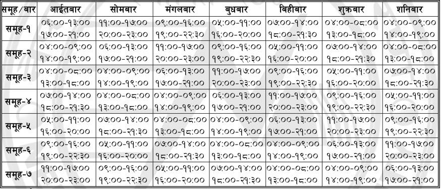 Loadshedding Schedule 2016