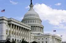 US Capitol Building with 3 Flags Flying
