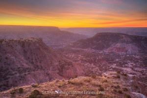 About 35 minutes before sunrise, high clouds lit up in oranges and blues over Palo Duro Canyon. While this November morning in the Texas panhandle was quite cold (about 26 degrees) the views and colors were worth the trouble. Thanks to the park rangers who allowed me early access to this point in order to capture such a tranquil scene.