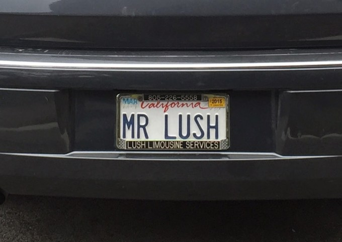 A license plate of a limo I saw in the Denner parking lot that made me smile.