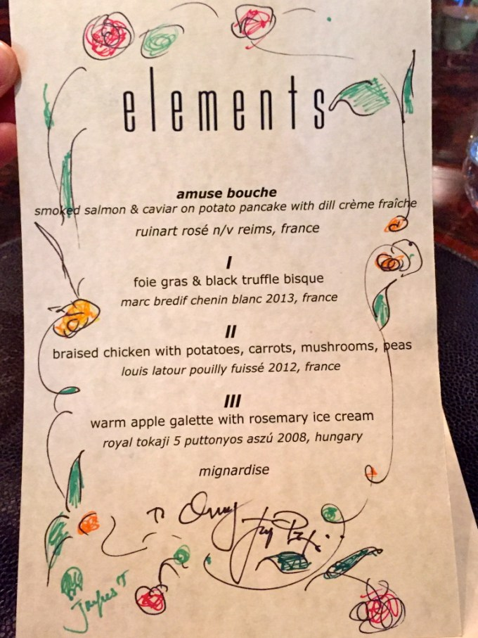 Did I also mention Jacques is an artist? He loves to decorate menus and presented one to our hostess. Some of his menus are shown on the inside sleeve of the cookbook.