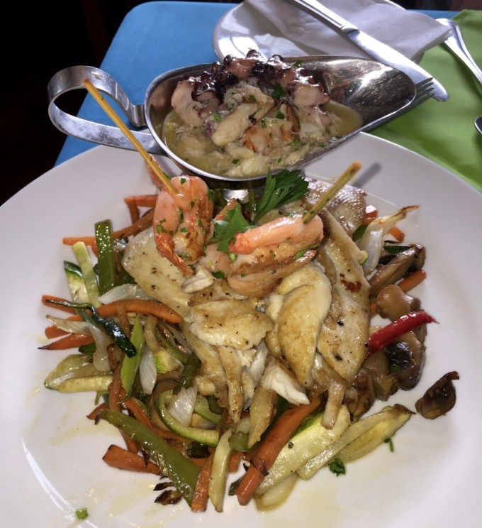 Reineta, shrimp and vegetables.