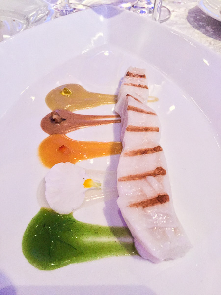 Halibut with Californian Flavors: Green Olives, Bergamot, Fennel, Orange, and Californian Walnut