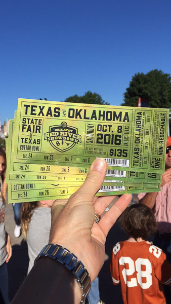 Our golden tickets (sadly the Longhorns lost).