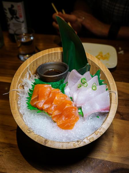 """""""Tsukiji selections"""" of sashimi (Tsukiji is Tokyo's famous fish market), ocean trout and amberjack."""