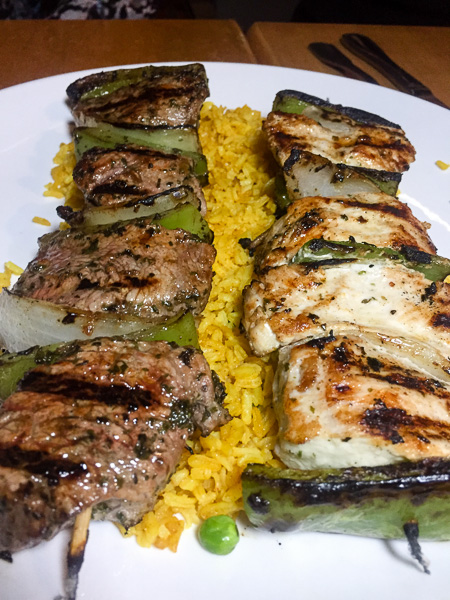 Steak and Chicken Skewers with Saffron Rice.