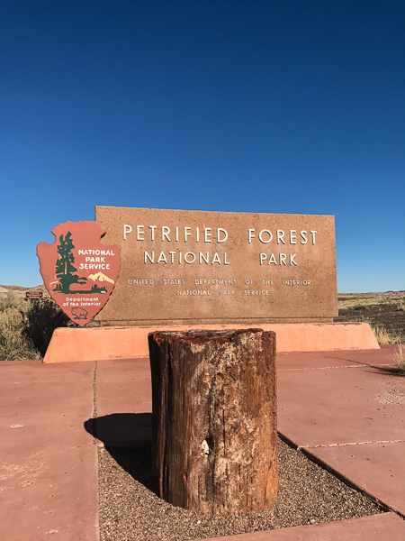 The entrance to the Petrified Forest National Park off Highway ??.