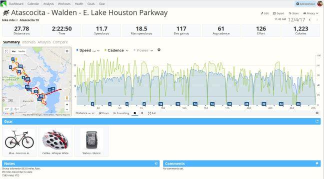 SportTracks Bicycle Ride Summary