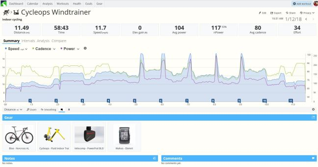 SportTracks Indoor Bicycling Workout Summary