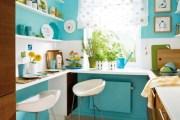 Σύγχρονη Turquoise  Κουζίνα με λύσεις που εξοικονομούν χώρο