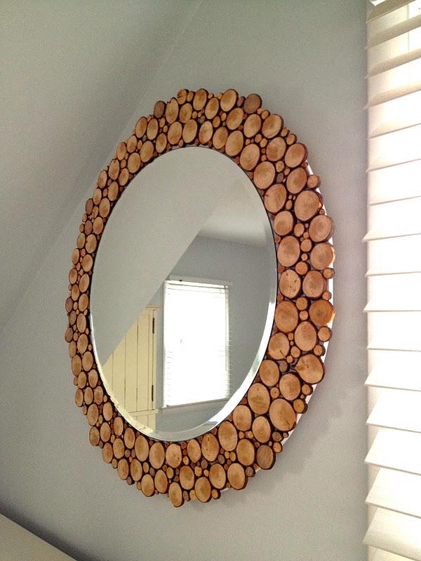 Diy Καθρέπτης πλαισιωμένος από κομμένα κλαδιά