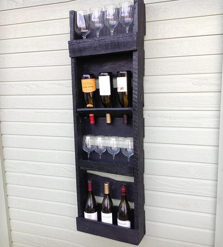 Diy ράφια κρασιών από παλέτες2