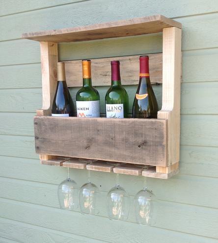 Diy ράφια κρασιών από παλέτες3