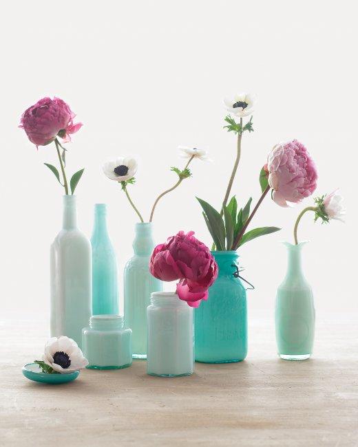 Διακοσμητικά πολύχρωμα βάζα από γυάλινα μπουκάλια1