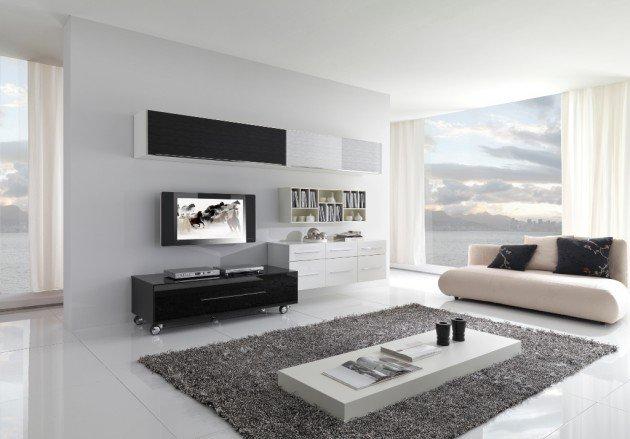 Ιδέες Σχεδιασμού  Σαλονιού  σε Άσπρο & Μαύρο4