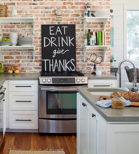 ιδέες με πέτρες, τούβλα και βότσαλα για τοίχους κουζίνας39