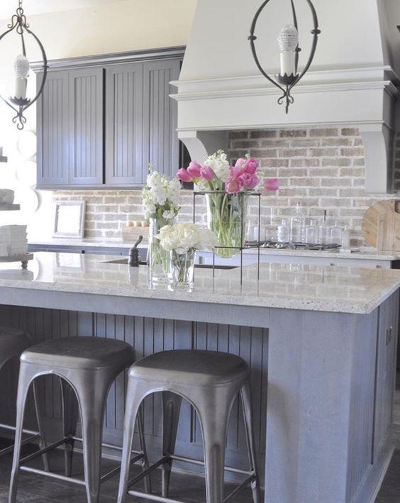 ιδέες με πέτρες, τούβλα και βότσαλα για τοίχους κουζίνας48