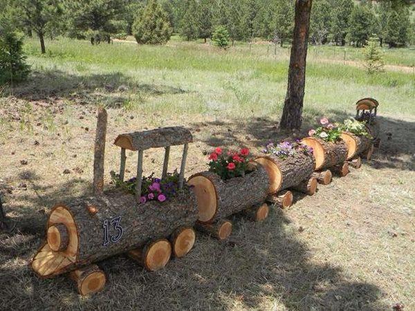διακοσμήσεις κήπου με ξύλινα καφάσια και κορμούς δέντρου2