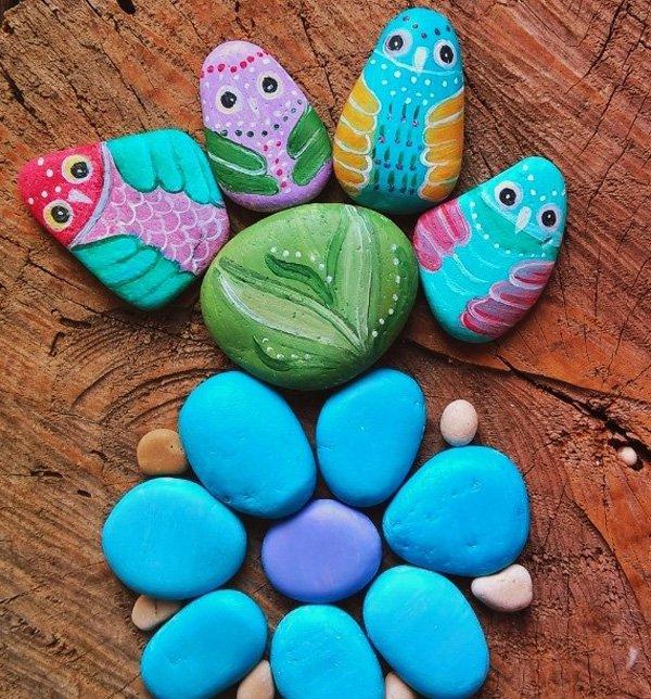 DIY ιδέες διακόσμησης με βαμμένες πέτρες και βότσαλα24