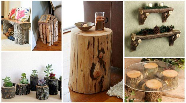 DIY ιδέες διακοσμήσης από κούτσουρα
