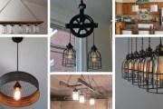 Υπέροχες DIY δημιουργικές ρουστίκ χωριάτικες ιδέες φωτισμού κουζίνας που εντυπωσιάζουν