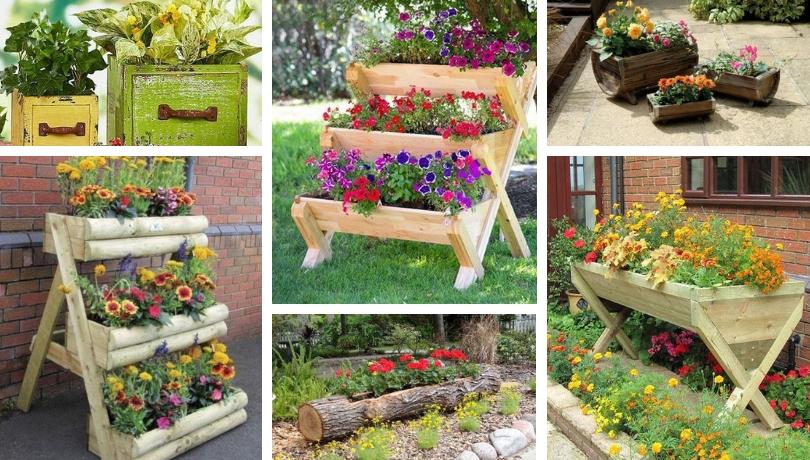 Διακόσμηση με DIY ξύλινες γλάστρες και ζαρντινιέρες που δίνουν στον κήπο μια ιδιαίτερη γοητεία