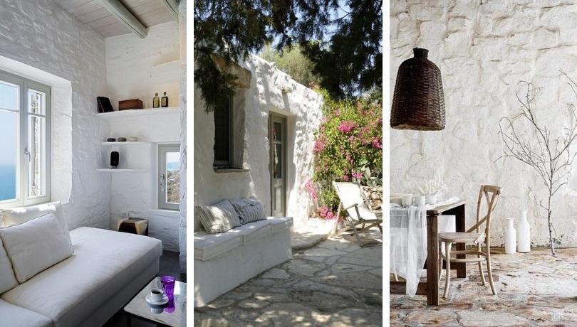 Πέτρινοι τοίχοι σε λευκό χρώμα - μια μόδα για μεσογειακό στυλ