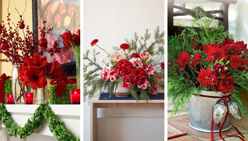 Χριστουγεννιάτικες συνθέσεις λουλουδιών για να ζωντανέψετε την διακόσμηση του σπιτιού σας αυτές τις γιορτές