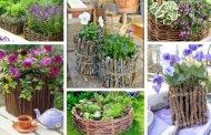 Έμπνευση για όμορφες φυσικές DIY γλάστρες από λυγαριά και μικρά κλαδάκια