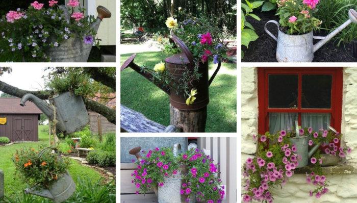 20 Εκπληκτικές Diy ιδέες χωριάτικης διακόσμησης κήπου και αυλής με γαλβανιζέ - μεταλλικά ποτιστήρια ως πρωτότυπη γλάστρα