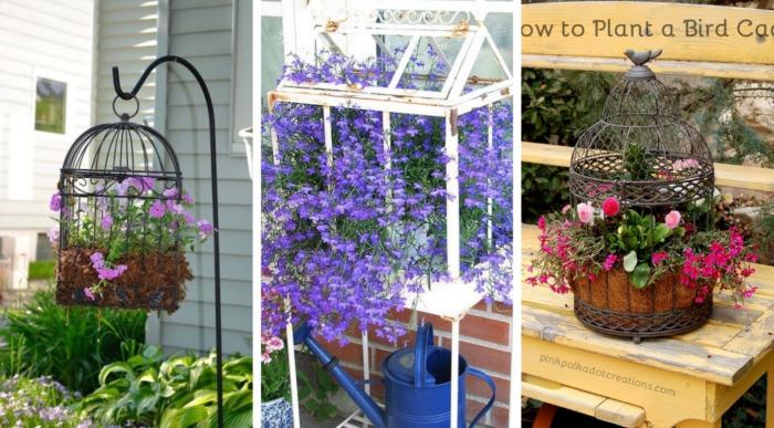 25 Υπέροχες ιδέες για να μετατρέψετε ένα παλιό κλουβί σε μια βάση λουλουδιών για την αυλή και τον κήπο σας