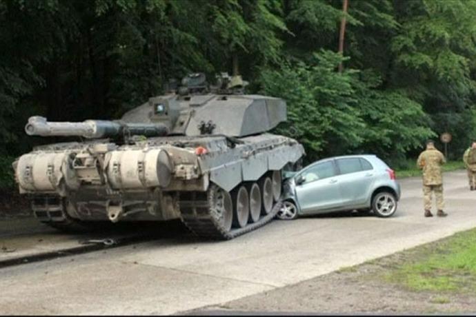 Tank hits car in Germany_-3945870549587901599
