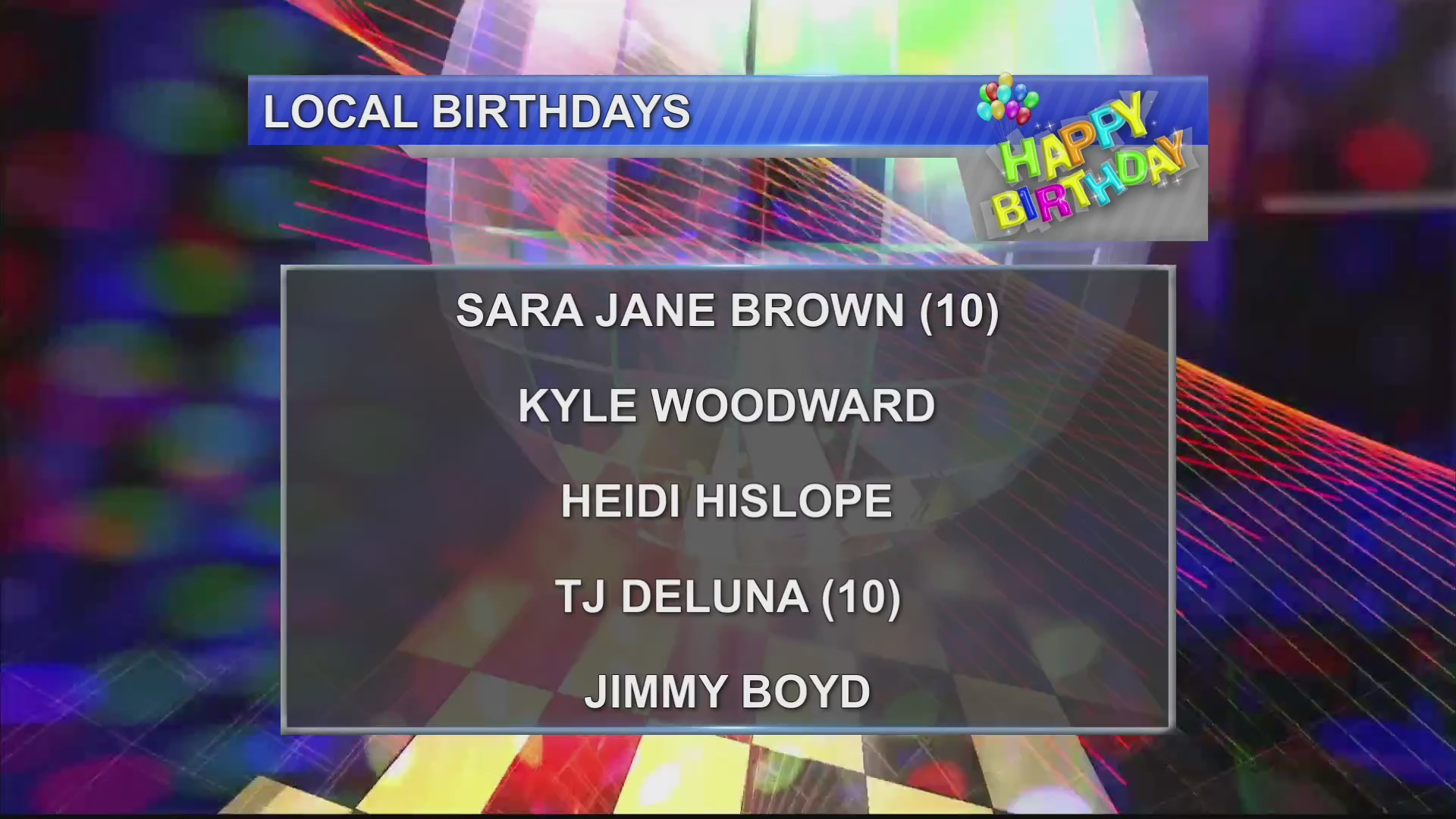 Birthdays & Anniversaries 11/6/18