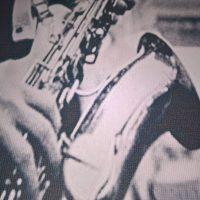 Nadruk na canvas z saksofonem