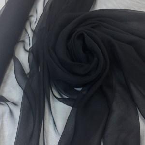 Voal creponat de matase naturala (muselina) negru
