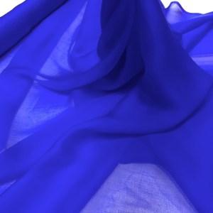 Voal chiffon de matase naturala albastru