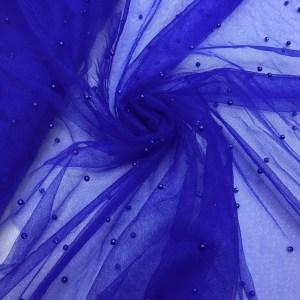 Tulle albastru cu perle